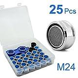 Akunsz 25x M24 Strahlregler Luftsprudler für Wasserhahn, Mischdüse mit Edelstahl Filter, 1x Mischdüsenschlüssel, 1x Aufbewahrungsbox dabei