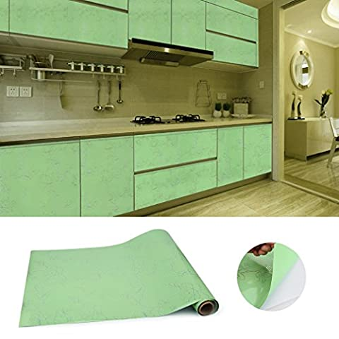 KINLO 0.61 x 5 M Vert Papier Peint Stickers Self Adhesive en film Imperméable Autocollant PVC Chambre/Salon/Cuisine/Mural Armoires Table Verre