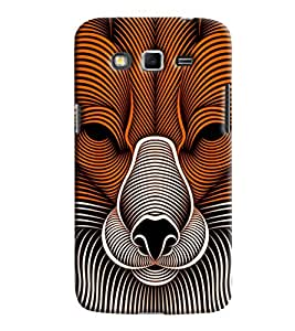 Blue Throat Lion Face Made Of Stripes Printed Designer Back Cover For Samsung Galaxy Grand 2