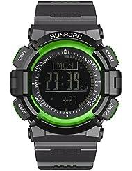 SUNROAD Reloj Digital de escalada Con 3 ATM impermeable luz de fondo Barómetro de Pesca Altimeter Previsión meteorológica Unisex Reloj de pulsera (Negro+Verde)
