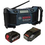 Soundset Bosch Baustellenradio GML SoundBoxx 14,4 V/18 V Professional, DC/AC-Adapter, Aux-In-Kabel, 2xAAA-Batterien und Kabel, im Karton + Bosch original Akku 18V 4,0AH Li-Ionen + Bosch Schnellladegerät 30min 14,4V/18V AL1860CV