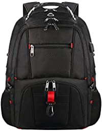 Travel Laptop Backpack, Durable Water Resistant Computer Backpack with USB Charging Port and Headphone Hole, 17.3 TSA College Outdoor Hiking Bag Fits most 17 inch Laptop and Notebook-Black