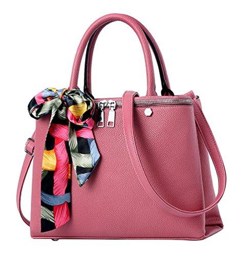 WanYang Borse A Mano per Donna PU Pelle Messenger Da Donna Vintage In Finta Pelle Borsa A Tracolla Fashion Rosa