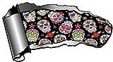 Gran Gash Novelty de vetas de grabados y abierto metal efecto adhesivo coche de Revelar mexicano Azúcar Diseño de calavera Diseño 195x 105mm