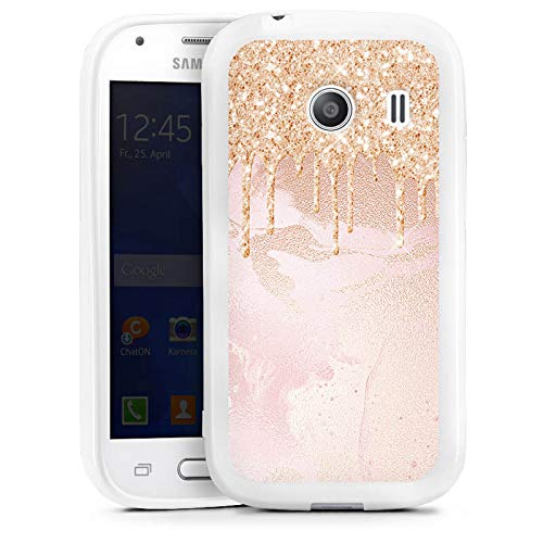 DeinDesign Samsung Galaxy Ace Style Silikon Hülle Case Schutzhülle Rose Gold Glitzer Look UtArt