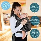 Fascia porta bebè grigio scuro – tracolla di alta qualità per neonati e bambini fino a 15 kg – 100% cotone – include una borsa portaoggetti e un bavaglino GRATIS – grazioso design by Makimaja®