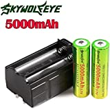 Sannysis 18650 Cargador de batería con 2 ranuras y 2 pcs 18650 5000mAh baterías