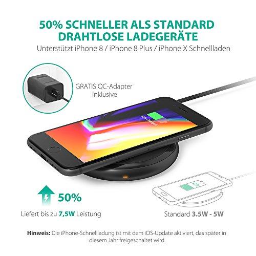 51xe5y5Ge L - [Amazon] RAVPower Qi kabelloses Ladegerät für iPhone X/8/8 Plus für nur 29,99€ statt 39,99€