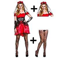 A2ZFD :Ladies Day of the Dead Senorita + Rose Veil + Skull Tights (X-Small UK 6-8)