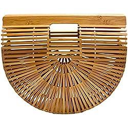 Qinlee Bolsa de Hombro de Paja Bambú Bolsa de Hombro de Paja Bolso Crossbody de Paja Estilo Bohemia Bolsa de Playa Verano Tejida con Paja Estilo Bohemia para Mujer Damas