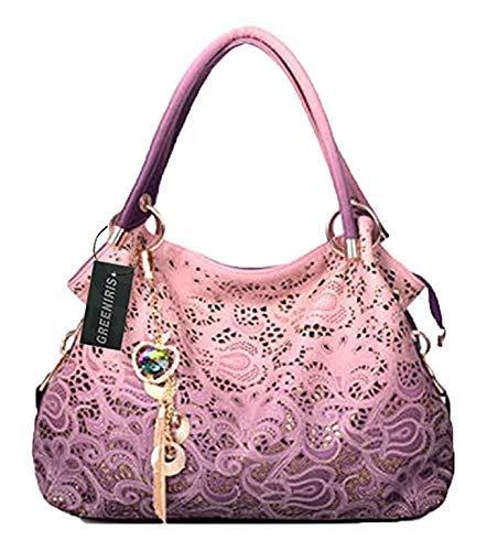 Faux-leder-schulter-handtasche (Damen Handtasche Greeniris Damen Schultertasche PU Leder Handtasche Damen Henkeltaschen Stilvoll Schultertasche Pink Sequins Quaste)