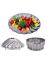 """Prisma Collections 9"""" Medium Stainless Steel Steamer Basket for Vegetable/Insert for Pots, Pans,"""