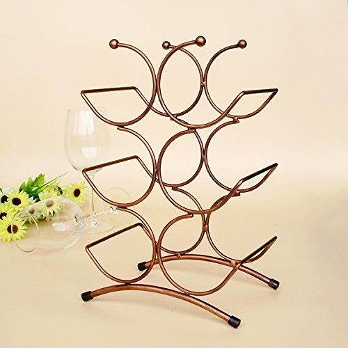 Portabottiglie da vino 6 bottiglie, portabottiglie da appoggio in metallo, portabiancheria da terra per piano o da tavolo modern scroll art design perfetto per conservare, brozen