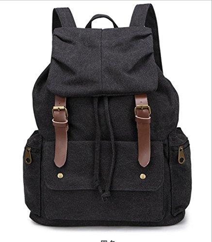 Xiuxiandianju 20L - 35L Freizeit Mann Tasche große Leinwand Schultertaschen Schultaschen Black
