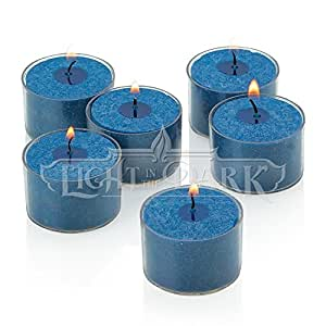 Set of 72 Navy Tealight Candles with Clear Cup Burn 8 Hour, Unscented