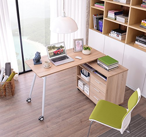 Great Buy for SixBros. Computer Desk – L-shape – PC Workstation – Office Desk Oak optic – CT-3366UAM/2180