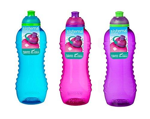 3 botellas con sistema Twist n Sip, 460ml, colores azul, rosa y Púrpura