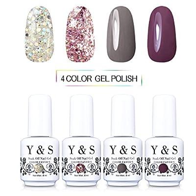Y&S Gel Nail Polish Nail Art Varnish UV LED Manicure Nail Starter Kits (8ml 4pcs) #001