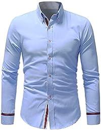 2aaa5fa059798 BaZhaHei Hombre Camisa Manga Larga Slim Fit S-2XL Camiseta de Manga Larga  con Panel Delgado para Hombre Camisa de Vestir con Corte…