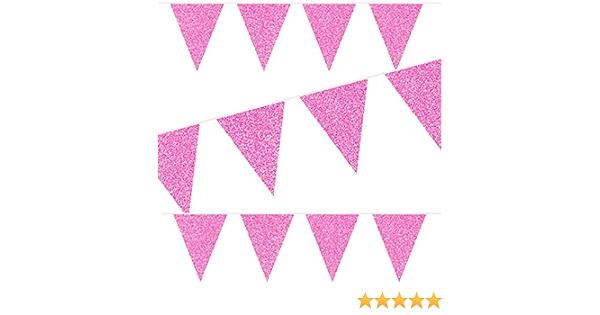 Unbekannt 6m Wimpelkette Sparkling Magenta Pink Als Deko Zum Geburtstag Oder Party In Metallischen Glitzer Girlande Flag Banner Spielzeug