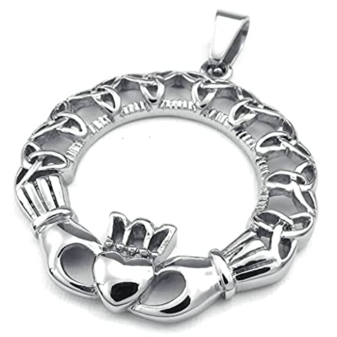 AMDXD Jewelry Vintage Necklace,Stainless Steel Pendant for Men Celtic Claddagh Heart Crown 22 Inch