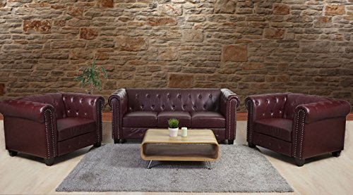 Luxus 3-2-1 Sofagarnitur Couchgarnitur Loungesofa Chesterfield Kunstleder ~ eckige Füße, rot-braun - 6