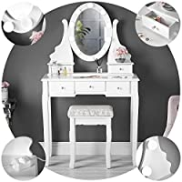 Ruby Rozanna White Dressing Table with Hollywood LED Lights Vanity Mirror 5 Drawers and Stool Set For Makeup Jewellery Bedroom
