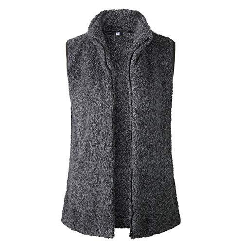 SKEPO Damen Weste Steppweste Sherpa Fleece Ärmellos Winter Warm Hoodie Outwear Mantel Zip Jacke Mit Stehkragen (Schwarz)