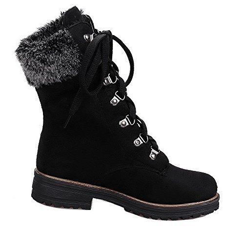 AgeeMi Shoes Femme Rond à Talon Bas Couleur Unie Suede Lacet Haut Bas Bottes Noir