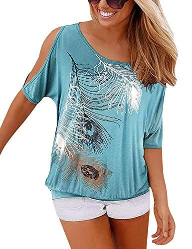 Yidarton Sommer Damen T Shirt Weg von der Schulter Kurzarm Feder Druck Muster Oberteile Tops Blusen Shirt (XXL, N-Grün)