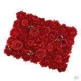 Fenteer 2X Künstliche Rot Blumenwand Rosenwand für Jede Anlässe Dekoration
