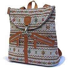 Mochila étnica bordada. Mochila de lino y cuero. Mochila hecha a mano con materiales orgánicos.