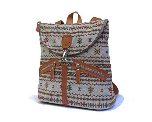 Bestickter ethnischer Rucksack. Leinen und Leder Rucksack. Rucksack Handarbeit mit organischen Materialien.
