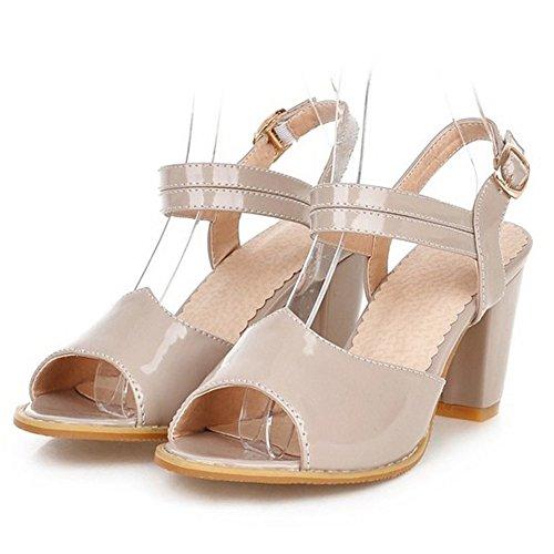 TAOFFEN Femmes Classique Peep Toe Sandales Bloc Talons Moyen Sangle De Cheville Chaussures Gris