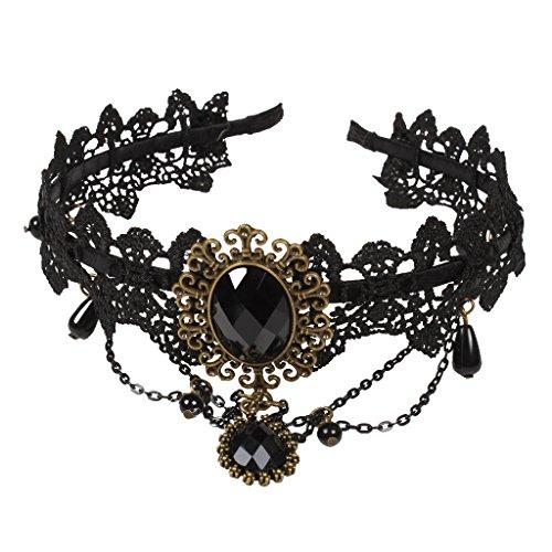 Femmes Dentelle Ferronière Bandeau de Cheveux Décoré avec Grand Strass Style Gothique - Noir