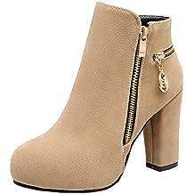 YE Donna Stivale Tacco a Blocco Alto con Plateau e Scarpe in Camoscio Ankle  Boots Cerniera 3c7a15d7317