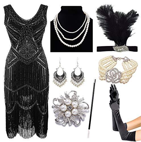 8IGHTEEN COSTUME 1920er Jahre Gatsby Fransen Paisley Plus Size Flapper Kleid mit 20er Jahre Zubehör-Set (2XL, Black)