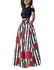 Idea Regalo - carinacoco Donna Vestiti Lunghi Due Pezzi Senza Spalline Manica Corta Camicetta + Rosa Stampa Gonne Lungo Elegante Vestito Maxi da Sera,Nero+Bianco,XXL