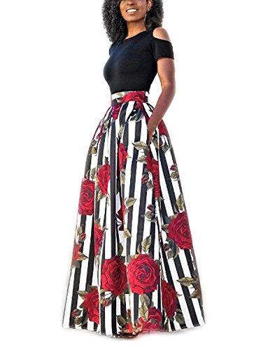 carinacoco Donna Vestiti Lunghi Due Pezzi Senza Spalline Manica Corta Camicetta e Rosa Stampa Gonne Lungo Elegante Vestito Maxi da SeraNero+BiancoXL