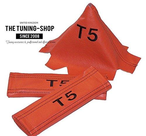 2x Sicherheitsgurt Bezüge Pads orange Schultertasche Leder schwarz T5+ Schaltsack