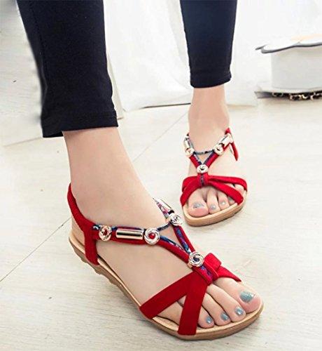 sandales femmes été sandales à bout ouvert fleurs femelles perlés sandales plates Red