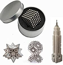 HITSAN INCORPORATION Sliver DIY Neo Cube Magic Beads Magnetic Balls Puzzle with Box (5mm) - 216 Pieces