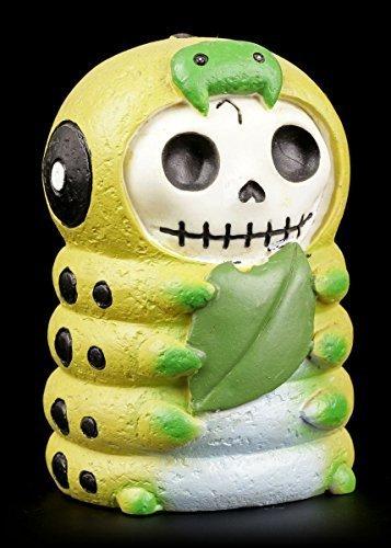 Furrybones Figur | Raupe Caterpillar isst Blatt | inkl. Geschenkbox für Sammler | Lustige Deko Totenkopf Gesicht