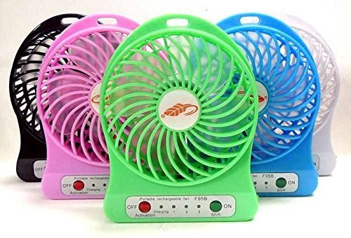 A Z Link 4-Inch Rechargeable Battery USB Mini Fan (Color May Vary)