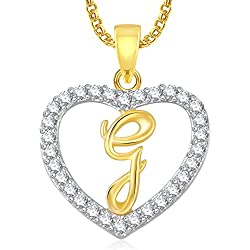 Amaal Jewellery Valentine Gifts Gold American Diamond Heart Alphabet Letter 'G' Necklace Pendant for Women Girls Girlfriend Boys Men with Chain PS0401