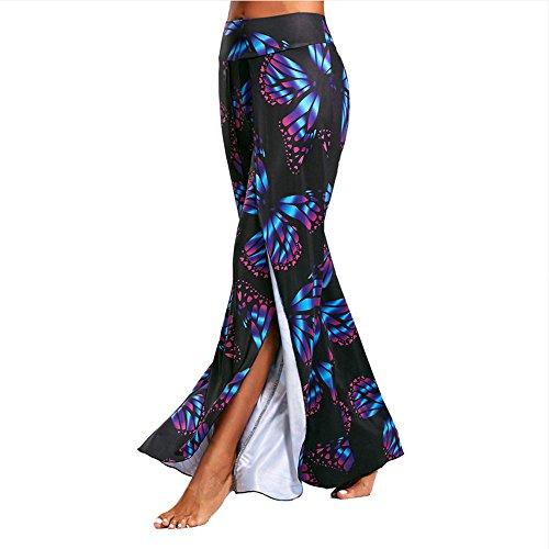 Ytdzsw Hot Pants 2018 Neue Sommer Damen Schmetterling Drucken Hohe Split Flowy Breite Beinhosen Yoga Hosen Yoga Hosen-L