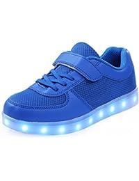 SGoodshoes Niños Niñas Zapatillas con luces Alta 7 Colores USB Carga LED Luz Luminosas Flash Sneakers Zapatos