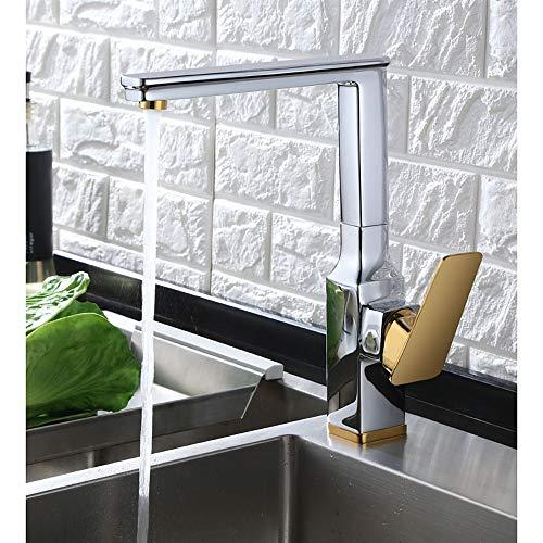 Fire wolf Küchenarmatur:Armatur für die Küche - Einhand Ein Loch Mittellage Moderne Kitchen Taps/Messing:Schwrzer Satin Nickel -