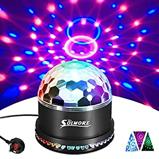 Disco Lights SOLMORE 51 LEDs Party Stage Lights 12W RGB Disco Ball Light Sound Activated Automatic Lighting Unique Sequential Flashing Effect for Festival Children Birthday Party Club Bar UK Plug