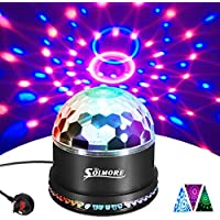 Disco Lights SOLMORE 51 LEDs Disco Ball Light 12W RGB Party Stage Lights Sound Activated Automatic Lighting Unique Sequential Flashing Effect for Christmas Children Birthday Party Club Bar UK Plug
